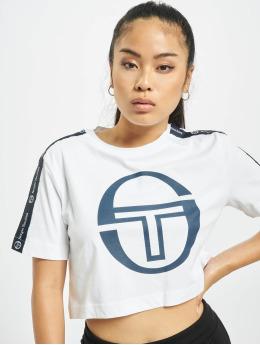 Sergio Tacchini T-Shirty Romina Cropped Logo Tape bialy
