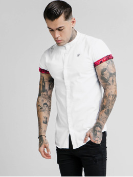 Sik Silk Camisa Grandad Collar Roll Sleeve blanco