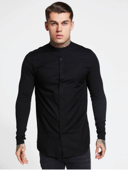 Sik Silk Camisa Grandad Collar Jersey negro