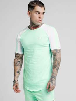 Sik Silk Camiseta Raglan Contrast Ringer Gym verde
