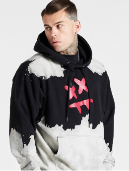 Sik Silk Hoody X Steve Aoki Oversized Bleach Wash schwarz