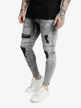 Sik Silk Jean skinny Elasticated Tape Distressed bleu