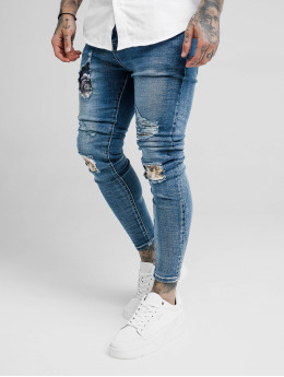 Sik Silk Jeans slim fit Floral Knee Burst blu