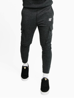 Sik Silk Jogging kalhoty Tonal Check Cargo  šedá