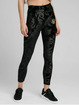 Sik Silk Leggings/Treggings Embossed Velour czarny