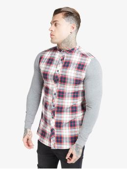 Sik Silk overhemd Flannel Check Grandad  grijs