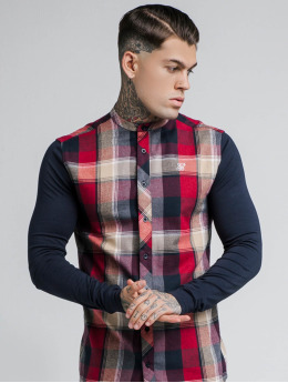 Sik Silk Shirt Flannel Grandad blue