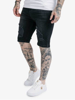 Sik Silk Shorts Distressed Denim schwarz