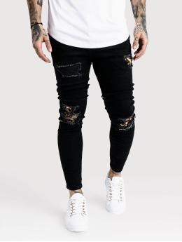 Sik Silk Skinny Jeans Low Rise čern