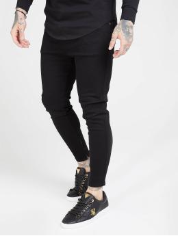 Sik Silk Skinny Jeans Drop Crotch čern