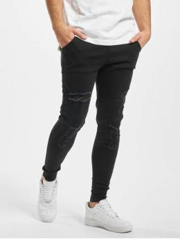 Sik Silk Skinny Jeans Elasticated Waist Distressed  čern