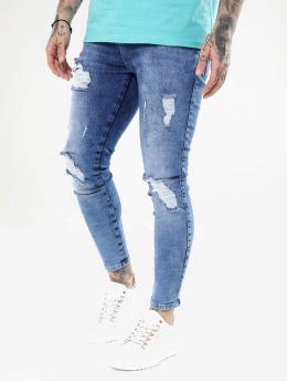 Sik Silk Skinny Jeans Distressed blå