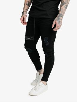 Sik Silk Skinny Jeans Elasticated Tape Distressed czarny