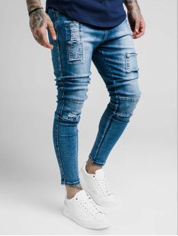 Sik Silk Skinny Jeans Bust Knee Low Rise modrý