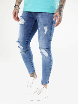 Sik Silk Skinny Jeans Distressed modrý