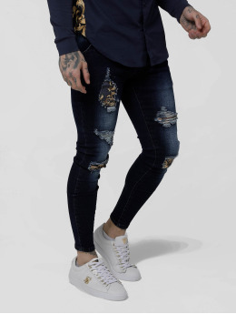 Sik Silk Skinny Jeans Low Rise Distressed  modrý