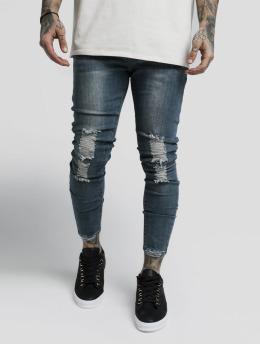Sik Silk Skinny Jeans Bust Knee Low niebieski