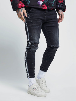 Sik Silk Skinny Jeans Paint Stripe sort