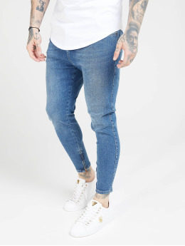 Sik Silk Slim Fit Jeans Drop Crotch modrá