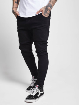 Sik Silk Slim Fit Jeans Drop Crotch svart