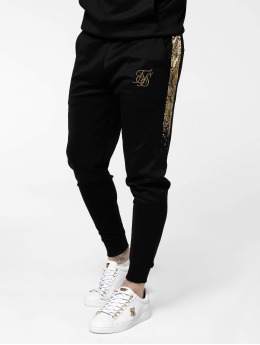 Sik Silk Sweat Pant Cuffed Cropped Fade Panel black