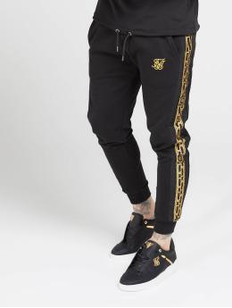 Sik Silk Sweat Pant Muscle Fit Nylon Panel  black