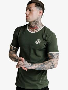 Sik Silk T-paidat Straight Hem Ringer khakiruskea