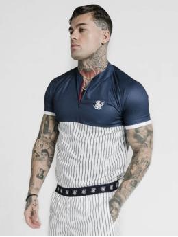 Sik Silk T-Shirt S/S Pinstripe Basebal blue
