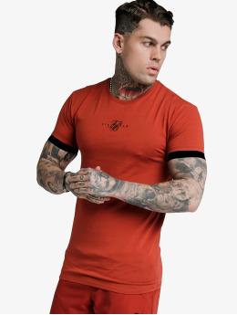 Sik Silk T-Shirt Inset Elastic Cuff Gym rot