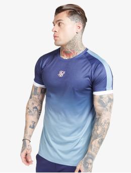 Sik Silk T-shirts Raglan Fade Straight Hem blå