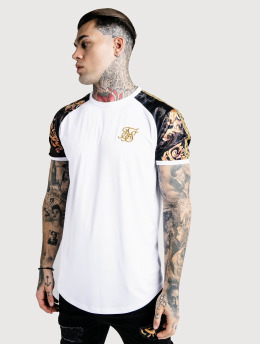 Sik Silk T-Shirty Curved Hem Gym bialy