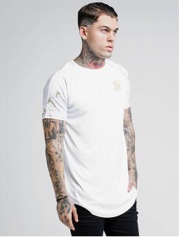 Sik Silk T-Shirty Marbleise Raglan Curved Hem bialy