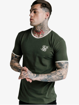 Sik Silk T-Shirty Straight Hem Ringer khaki