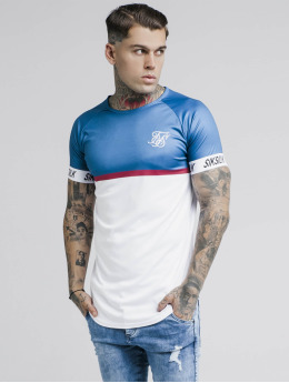 Sik Silk T-skjorter Raglan Stripe Tech blå