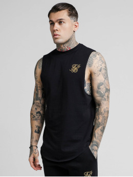 Sik Silk Tank Tops Standard Drop Down Vest negro