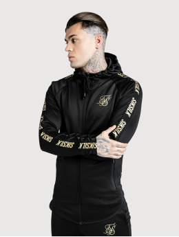 Sik Silk Zip Hoodie Golden Reflect Zip Through black