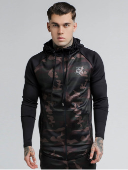 Sik Silk Zip Hoodie Athlete Through schwarz