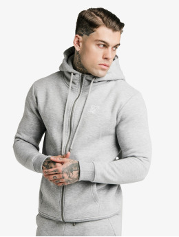 Sik Silk Zip Hoodie Zip Through Funnel Neck  szary
