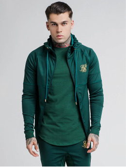 Sik Silk Zip Hoodie Through Zonal zelený