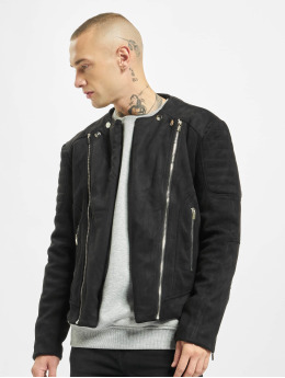 Sixth June Lightweight Jacket Regular Perfecto Suede Fabric black