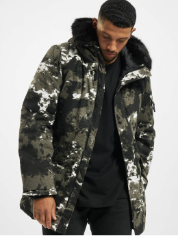 Sixth June Parka Moutain Print Parka With Fur schwarz