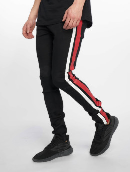Sixth June Männer Slim Fit Jeans Black/Red Bands in schwarz