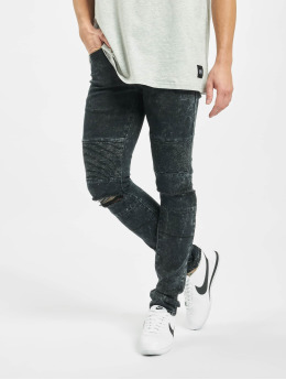 Sixth June Slim Fit Jeans Destroyed Biker schwarz