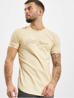 Sixth June T-Shirt Signature Velvet Logo beige