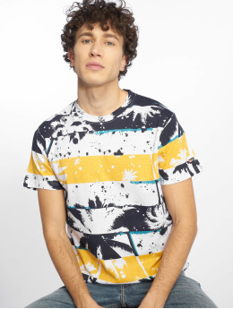 Southpole T-Shirt Palm Tree Stipe Print bleu
