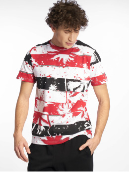 Southpole T-Shirty Palm Tree Stipe Print czerwony