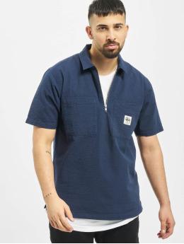 Stüssy Hemd Half Zip Seersucker blau