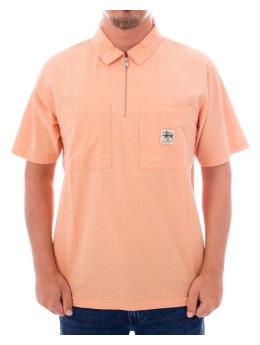 Stüssy Hemd Half Zip Seersucker pink