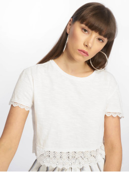Tally Weijl T-Shirt Crochet Trim Slub blanc