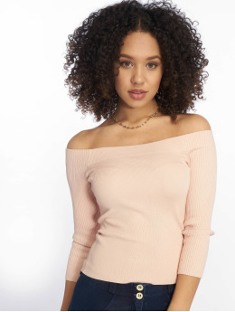 Tally Weijl T-Shirt manches longues Knit Rib Bardot  rose